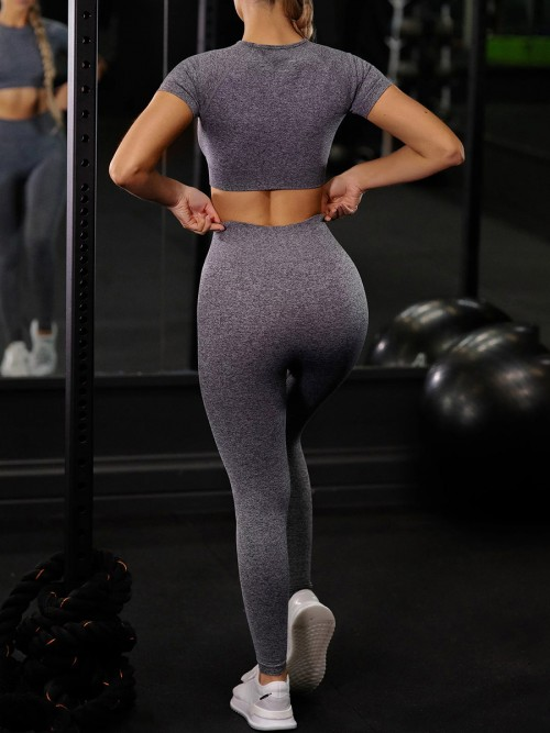 Grey Ankle Length Yoga Legging Seamless Top Running Clothes