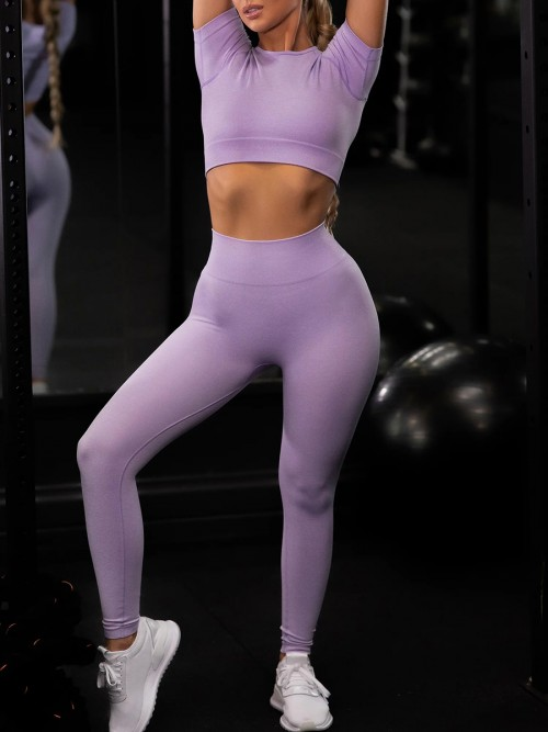 Purple Ankle Length Yoga Legging Seamless Top Running Clothes
