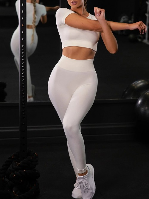 Creamy-White Ankle Length Yoga Legging Seamless Top Running Clothes