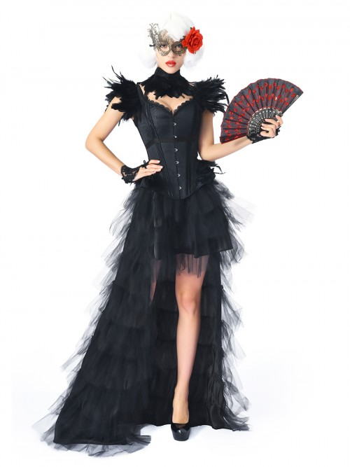 Curve Smoothing Black Feather Jacquard Overbust Corset Skirt Set