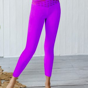 Dazzles Violet Hip Ruched High Waist Athlete Legging Sports Series