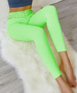 Dazzles Green Hip Ruched High Waist Athlete Legging Sports Series