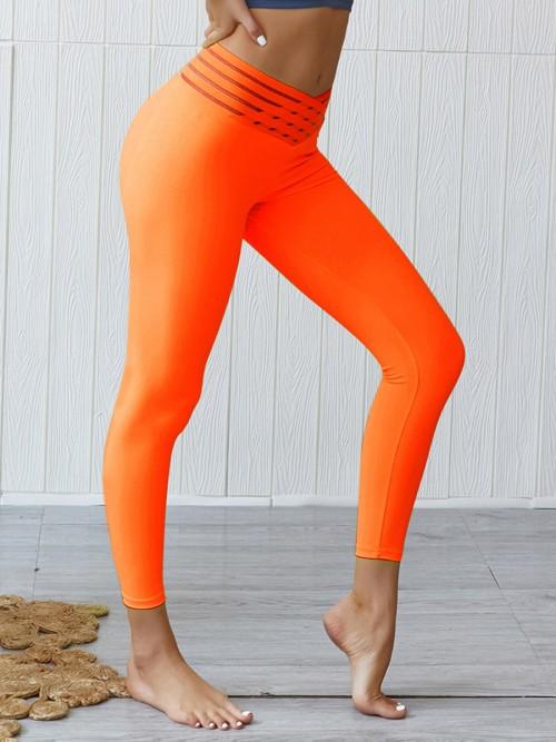 Dazzles Orange Hip Ruched High Waist Athlete Legging Sports Series