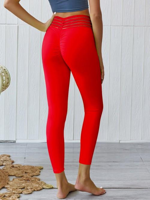 Dazzles Red Hip Ruched High Waist Athlete Legging Sports Series