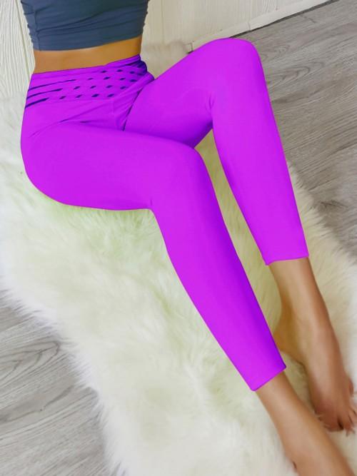 Dazzles Violet Hip Ruched High Waist Athlete Legging Sports Series