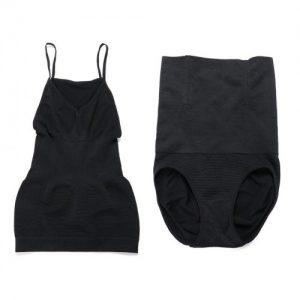 Defining Moment Two Pieces Black 4 Steel Bones Shaping Vest High Waist Panty Figure Slimmer