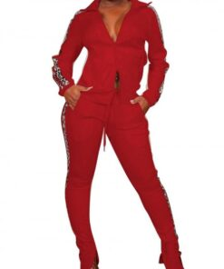 Dreaming Red Drawstring Waist Colorblock Sweat Suit Elasticity