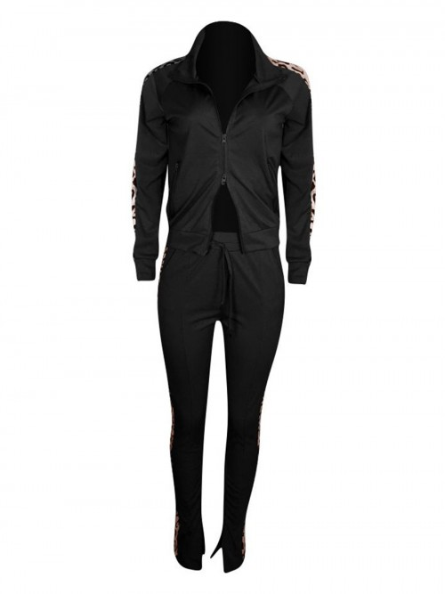 Dreaming Black Drawstring Waist Colorblock Sweat Suit Elasticity