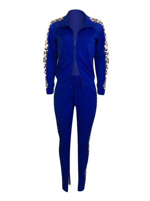 Dreaming Blue Drawstring Waist Colorblock Sweat Suit Elasticity