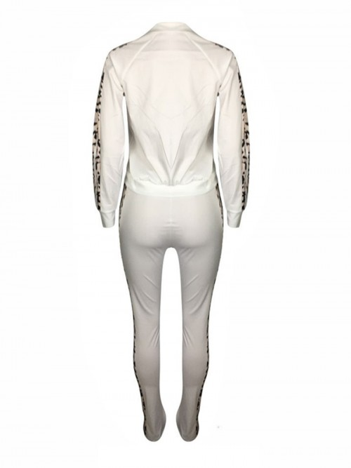 Dreaming White Drawstring Waist Colorblock Sweat Suit Elasticity
