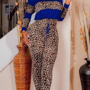 Dynamic Blue Full-Sleeved Sports Top Leopard Pants Set Understated Design