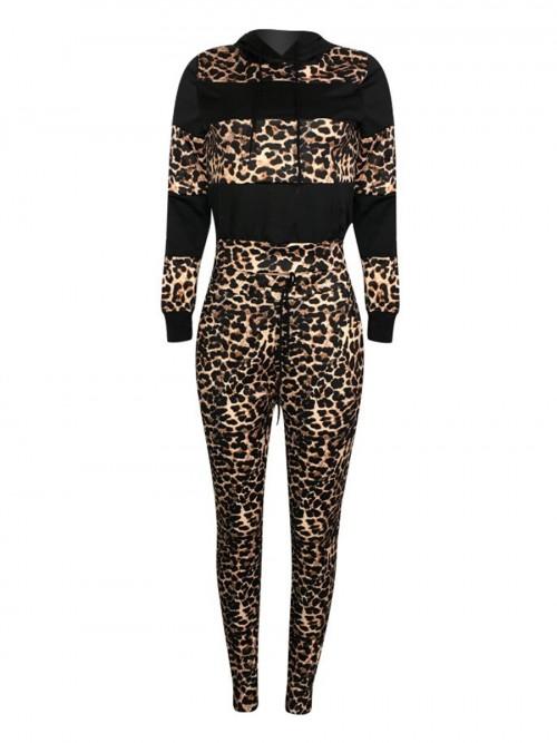 Dynamic Black Full-Sleeved Sports Top Leopard Pants Set Understated Design