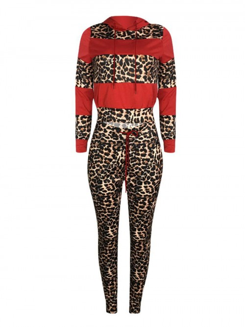 Dynamic Red Full-Sleeved Sports Top Leopard Pants Set Understated Design