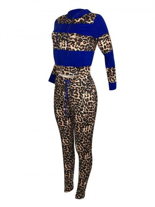 Dynamic Blue Full-Sleeved Sports Top Leopard Pants Set Understated Design