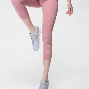 Elegant Light Pink Cropped Athletic Leggings High Rise