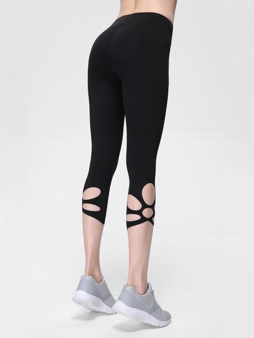 Elegant Black Cropped Athletic Leggings High Rise