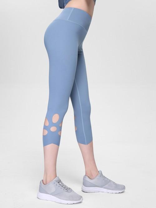 Elegant Light Blue Cropped Athletic Leggings High Rise