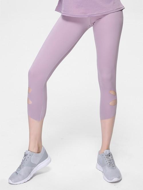 Elegant Light Pink Cropped Athletic Leggings High Rise