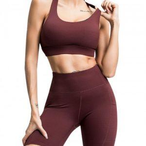Enthusiastic Dark Brown Running Suit High Waist Open Back For Women