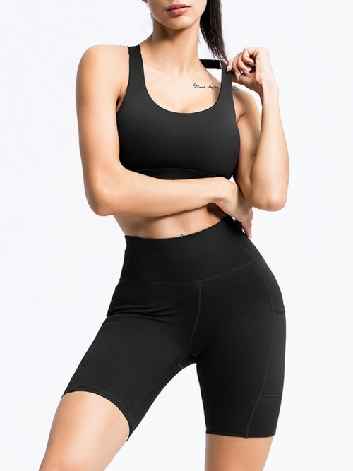 Enthusiastic Black Running Suit High Waist Open Back For Women
