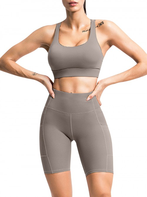 Enthusiastic Grey Running Suit High Waist Open Back For Women