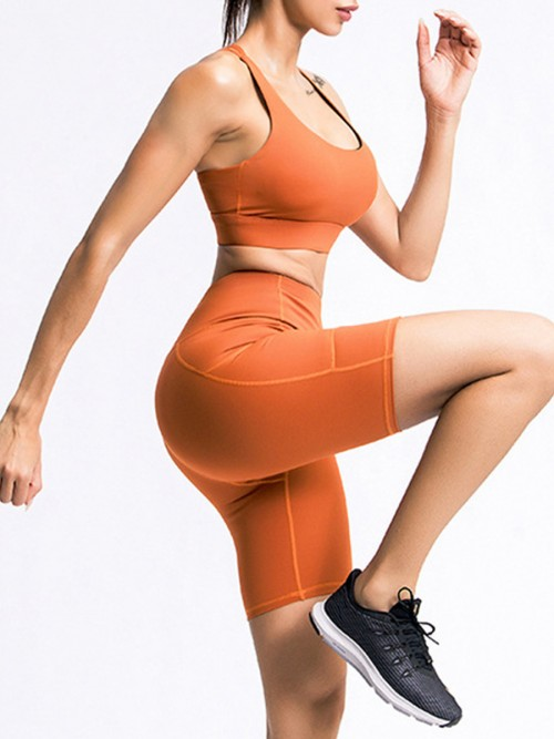 Enthusiastic Orange Running Suit High Waist Open Back For Women
