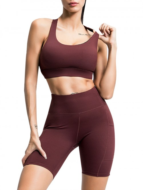 Enthusiastic Dark Brown Running Suit High Waist Open Back For Women