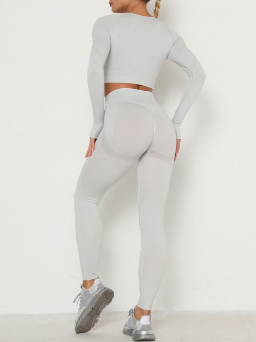 Entrancing Light Gray Running Suit Seamless Moisture-Wicking Workout