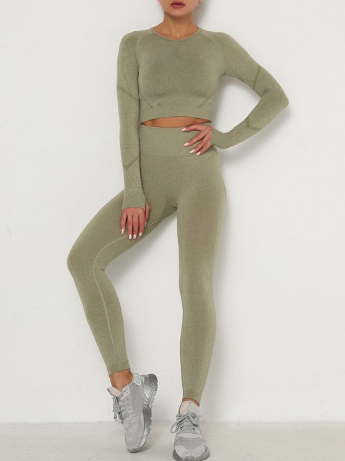 Entrancing Army Green Running Suit Seamless Moisture-Wicking Workout