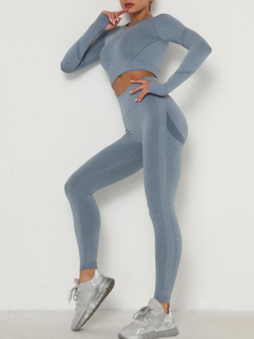 Entrancing Blue Running Suit Seamless Moisture-Wicking Workout