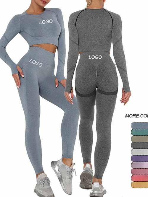 Entrancing Grey Running Suit Seamless Moisture-Wicking Workout
