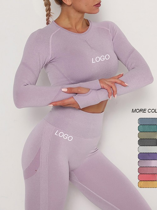 Entrancing Light Purple Running Suit Seamless Moisture-Wicking Workout