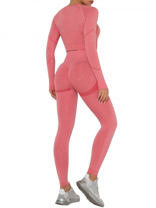 Entrancing Red Running Suit Seamless Moisture-Wicking Workout