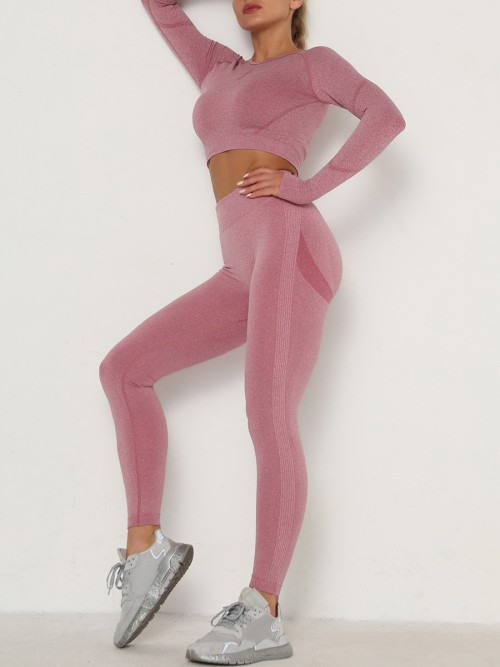 Entrancing Wine Red Running Suit Seamless Moisture-Wicking Workout