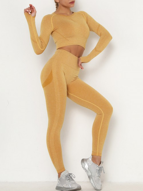 Entrancing Yellow Running Suit Seamless Moisture-Wicking Workout