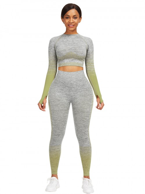 Essential Army Green Tie-Dyed Cropped Top High Rise Leggings Sweat Absorption