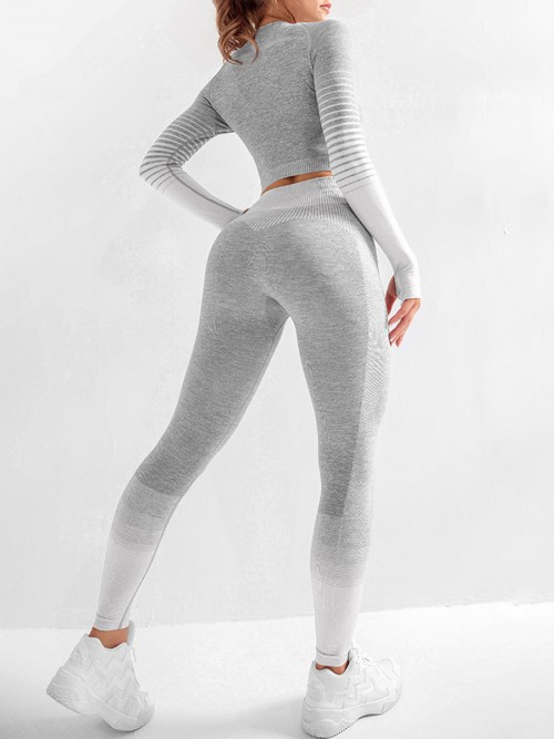 Essential Gray Tie-Dyed Cropped Top High Rise Leggings Sweat Absorption