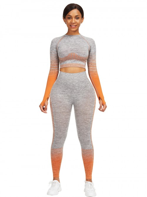 Essential Orange Tie-Dyed Cropped Top High Rise Leggings Sweat Absorption