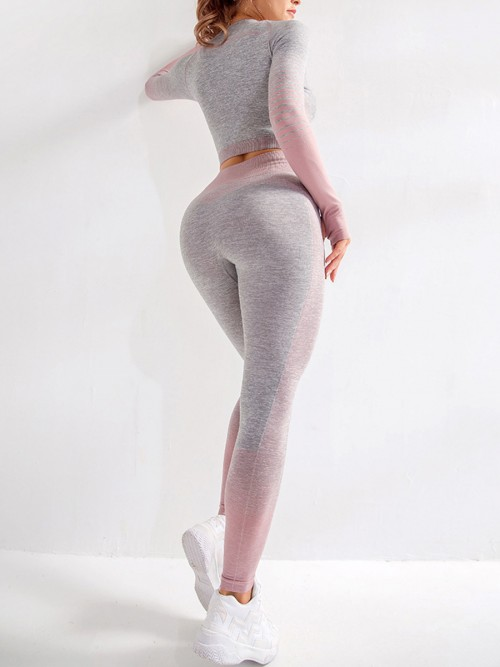 Essential Pink Tie-Dyed Cropped Top High Rise Leggings Sweat Absorption
