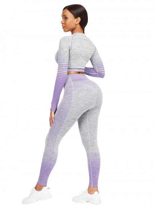 Essential Purple Tie-Dyed Cropped Top High Rise Leggings Sweat Absorption