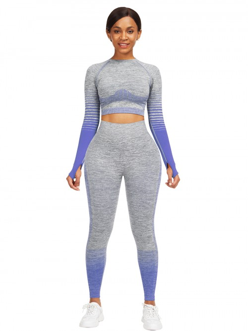 Essential Blue Tie-Dyed Cropped Top High Rise Leggings Sweat Absorption