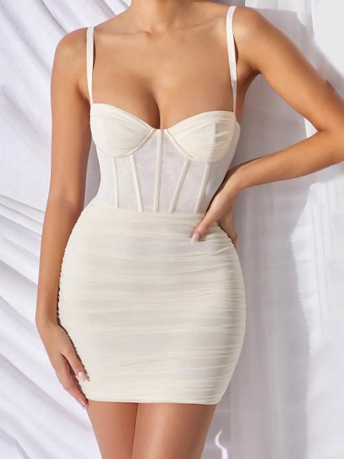 Exquisitely White Pleated Bodycon Dress Mini Length Fashion Design
