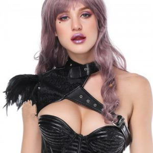 Extra Sexy Black Feather Punk Shawl Neck Decoration Haute Contour