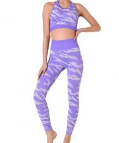 Eye Catching Purple Camouflage Print Sweat Suit Sleeveless Feminine