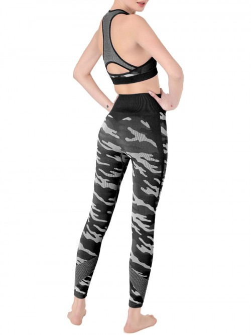 Eye Catching Black Camouflage Print Sweat Suit Sleeveless Feminine