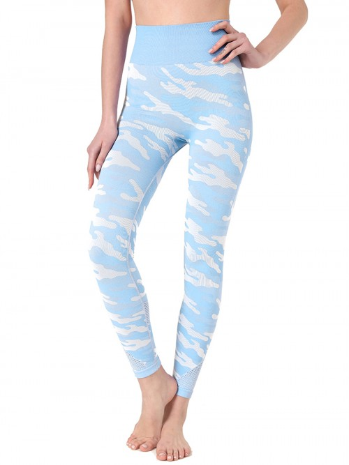 Eye Catching Blue Camouflage Print Sweat Suit Sleeveless Feminine