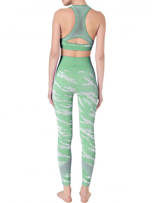 Eye Catching Green Camouflage Print Sweat Suit Sleeveless Feminine