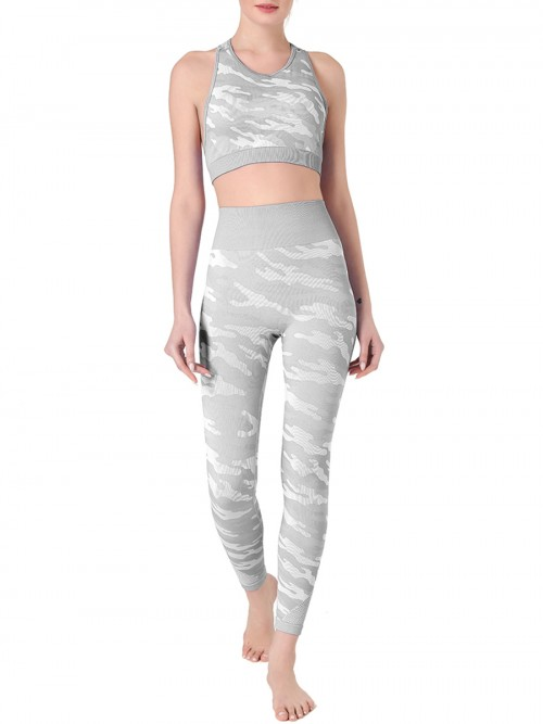 Eye Catching Light Grey Camouflage Print Sweat Suit Sleeveless Feminine