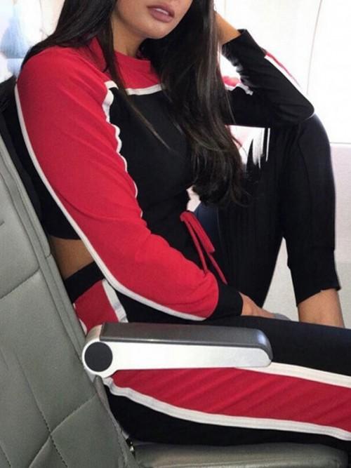 Fabulous Red Long Sleeve Sweat Suit Contrast Color Comfort Fit