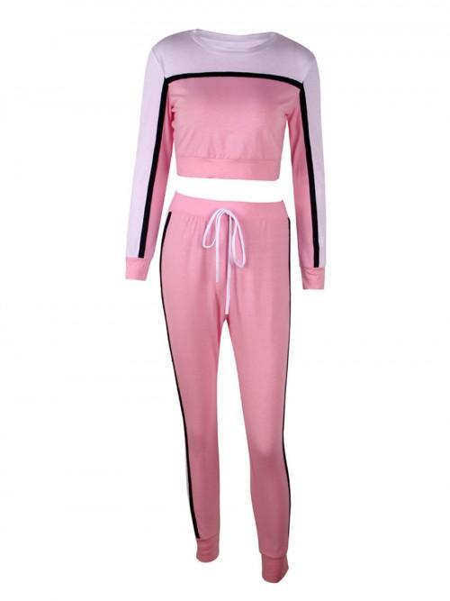 Fabulous Pink Long Sleeve Sweat Suit Contrast Color Comfort Fit